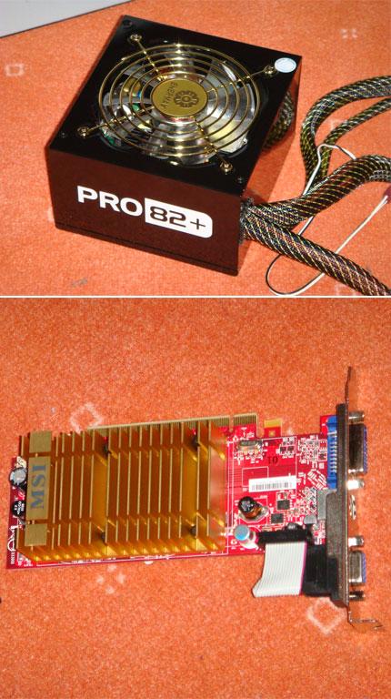 Enermax Pro82+ (oben) und MSI-Schroot-Graka (unten)